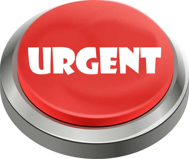 Bouton rouge Urgent, interface